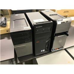 2 DELL, 1 LENOVO DESKTOP COMPUTERS (NO HDD)