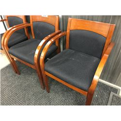 2 CHERRY FRAME BLACK ARM CHAIRS