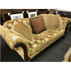TAN FLORAL PATTERN HEAVILY CARVED SOFA AND LOVE SEAT SET