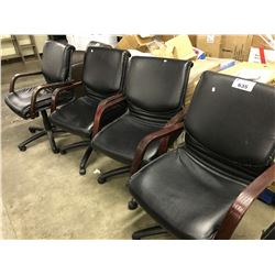 4 LEATHER MID BACK TILTER CHAIRS