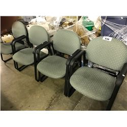 4 GREEN PATTERNED CLIENT CHAIRS