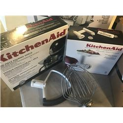 KITCHENAID ACCESSORIES (POURING SHIELD, FOOD GRINDER, 2 MIX ATTACHMENTS)