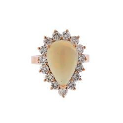 14KT Rose Gold 3.31 ctw Pear Shape Opal and Diamond Ring