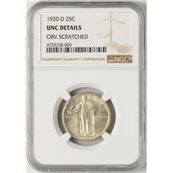 1920-D Standing Quarter Coin NGC Unc Details