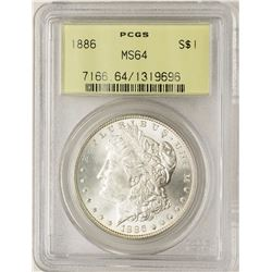 1886 $1 Morgan Silver Dollar Coin PCGS MS64 Old Green Holder