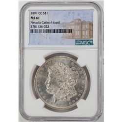 1891-CC $1 Morgan Silver Dollar Coin NGC MS61