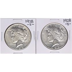 Lot of (2) 1928-S $1 Peace Silver Dollar Coins