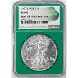 1997 $1 American Silver Eagle Coin NGC MS69 Green Core