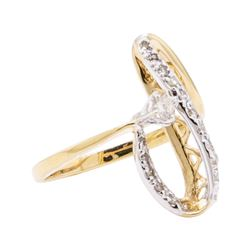 14KT Yellow Gold 0.35 ctw Diamond Ladies Freeform Ring