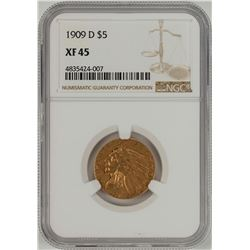 1909-D $5 Liberty Head Half Eagle Gold Coin NGC XF45