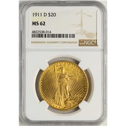 1911-D $20 St. Gaudens Double Eagle Gold Coin NGC MS62