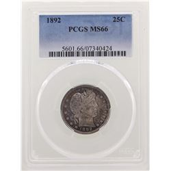 1892 Barber Quarter Coin PCGS MS66
