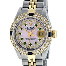 Rolex Ladies Two Tone 14K Pink MOP Diamond Emerald & Sapphire Datejust Wriswatch