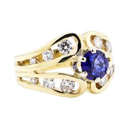 14KT Yellow Gold 0.83 ctw Sapphire and Diamond Ring