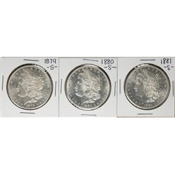Lot of 1879-S to 1881-S $1 Morgan Silver Dollar Coins
