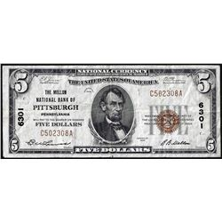 1929 $5 Mellon NB of Pittsburgh, PA CH# 6301 National Currency Note