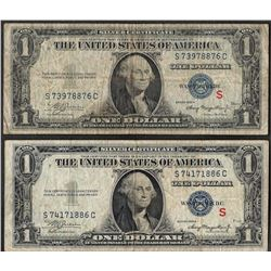 """Lot of (2) 1935A $1 Experimental """"S"""" Silver Certificate Note"""