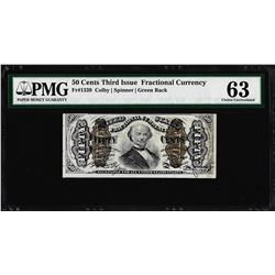 March 3, 1863 Fifty Cents Third Issue Fractional Currency Note PMG Choice Unc. 63