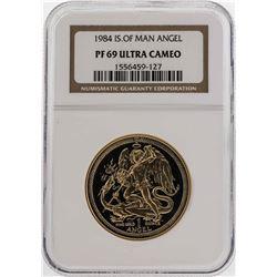 1984 Isle of Man Angel Gold Coin NGC PF69 Ultra Cameo