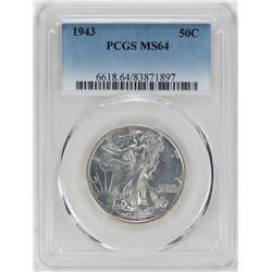 1943 Walking Liberty Half Dollar Coin PCGS MS64