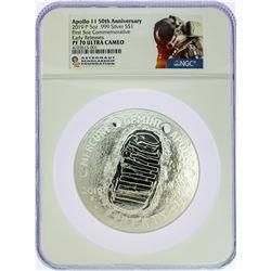 2019 Apollo 5 Ounce Commemorative Silver Coin NGC PF70 Early Releases