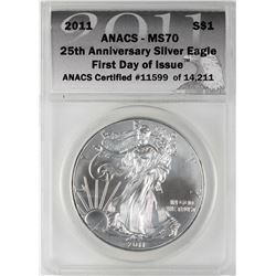 2011 $1 American Silver Eagle Coin ANACS MS70 First Day of Issue