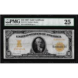 1907 $10 Gold Certificate Note Fr.1172 PMG Very Fine 25