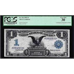 1899 $1 Black Eagle Silver Certificate Note Fr.226 PCGS Very Fine 30 Inscription on Back