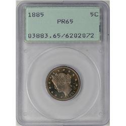1885 Proof Liberty V Nickel Coin NGC PR65 Green Rattler Holder