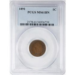 1891 Indian Head Cent Coin PCGS MS61BN
