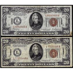 Lot of (2) 1934A $20 Hawaii WWII Emergency Issue Federal Reserve Notes
