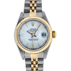 Rolex Ladies Quickset Two Tone 18K White Index Datejust Wristwatch