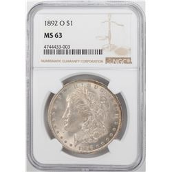 1892-O $1 Morgan Silver Dollar Coin NGC MS63