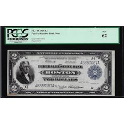 1918 $2 Battleship Federal Reserve Bank Note Boston Fr.749 PCGS New 62