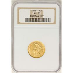 1859 $3 Indian Princess Head Gold Coin NGC AU53