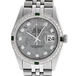 Rolex Mens Stainless Steel Meteorite Diamond & Emerald Datejust Wristwatch
