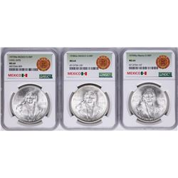 Lot of 1977Mo-1979Mo Mexico 100 Pesos Silver Coins NGC MS64