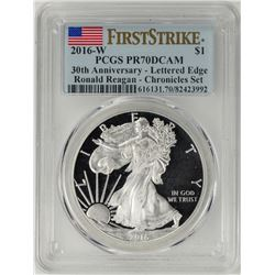 2016-W $1 Proof American Silver Eagle Coin PCGS PR70DCAM First Strike Ronald Reagan