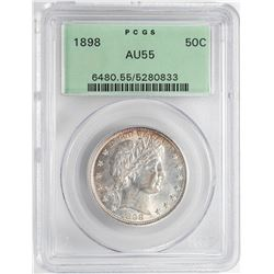 1898 Barber Half Dollar Coin PCGS AU55 Old Green Holder