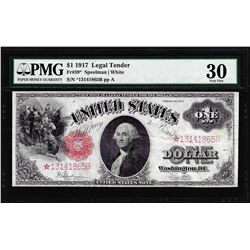 1917 $1 Legal Tender STAR Note Fr.39* PMG Very Fine 30