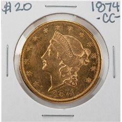 1874-CC $20 Liberty Head Double Eagle Gold Coin