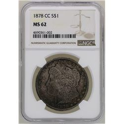 1878-CC $1 Morgan Silver Dollar Coin NGC MS62