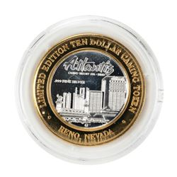 .999 Fine Silver Atlantis Casino & Resort Reno, NV $10 Limited Edition Gaming Token