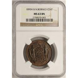 1890-H British North Borneo Cent Coin NGC MS63BN