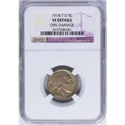 1918/7 Overdate Buffalo Nickel Coin NGC VF Details