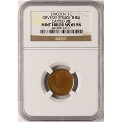 Lincoln Cent ERROR Coin Capped Die Obverse Struck Through NGC MS65BN