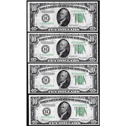 Lot of (4) 1934A $10 Federal Reserve Notes