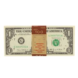 Original Pack of (100) Consecutive 1969D $1 Federal Reserve Notes Chicago