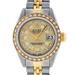 Rolex Ladies Two Tone 14K Champagne String Diamond Datejust Wristwatch