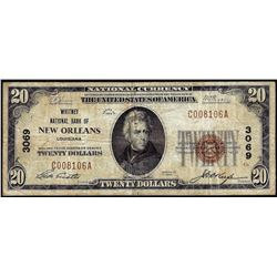 1929 $20 NB New Orleans, LA CH# 3069 National Currency Note